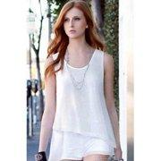 Women Irregular Hem Casual Shirt and Blouse White