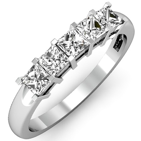 18k 18k Wg Ring - Dazzlingrock Collection 0.75 Carat (ctw) 18K Princess Diamond 5 Stone Bridal Wedding Ring 3/4 CT, White Gold, Size 9