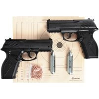 Crosman Double Down Action .177 Caliber Semi-Auto CO2 Air Pistol Bundle, 480fps