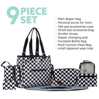 SoHo Collections, Diaper Tote Bag Travel with Stroller Straps, 9 Piece Complete Set, Tribeca (Black and White)