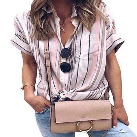 - 711ONLINESTORE Women Short Sleeve Stripeed Button Down Front Pocket Top