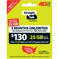 Straight Talk $130 Unlimited 3-Month/90-Day Plan (with up to 25GB of data at high speeds, then 2G*) (Email Delivery)