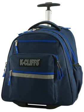 Heavy Duty Rolling Backpack School Backpack with Wheels Deluxe Trolley Book Bag Wheeled Daypack Multiple Pockets Bookbag With Safety Reflective Stripe Navy Blue