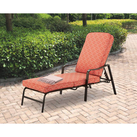 Wood Outdoor Lounge Chair (Mainstays Outdoor Chaise Lounge, Orange Geo Pattern)