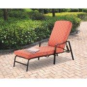 Mainstays Outdoor Chaise Lounge, Orange Geo Pattern