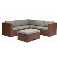 Baner Garden Outdoor Furniture Complete Patio Cushion PE Wicker Rattan Garden Corner Sofa Couch Set, Brown, 4 Pieces