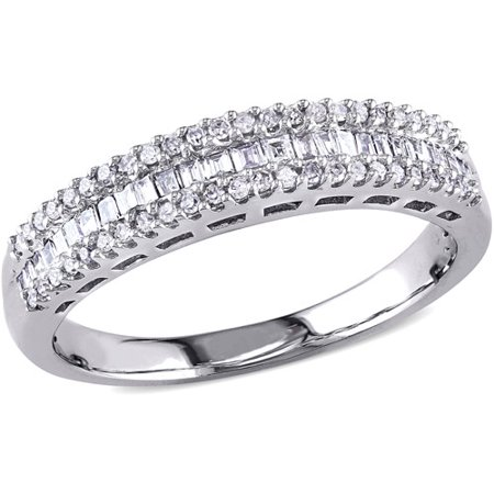 - Miabella 1/3 Carat T.W. Parallel Baguette- and Round-Cut Diamond 14kt White Gold Three-Row Semi-Eternity Anniversary Ring