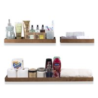 WALLNITURE Sturdy Construction Wooden Bathroom Tray Shelves in Varying Sizes Walnut Set of 3