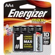 Energizer Max Alkaline AA Batteries, 4 Pack