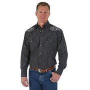 ca794466968 Wrangler Mens George Strait Troubadour Long Sleeve Shirt MGS87BK Black  (Large)