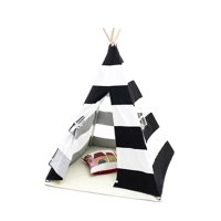 Funkatron Indoor Indian Playhouse Toy Teepee Play Tent for Kids Toddlers Canvas with Carry Case, Black Stripe