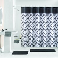 Mainstays Geometric 15-Piece Shower Curtain Bath Set