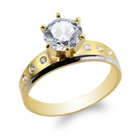 Two Tone Engagement Ring Mounting - 14K Yellow Gold Two Tone Color Engagement Ring with Round CZ Embedded Size 4-10
