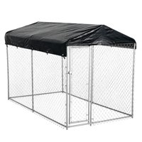 AKC® American Kennel Club® 5ft x 10ft x 4ft High Galvanized Chainlink Dog Kennel with Roof, Waterproof Cover and Free Training Guide