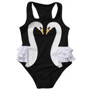 cb07a5c551093 Fashion Girls Bikini Baby Kid Swan Swimsuit Romper Swimwear Ruffle Skirt Swimsuit  Bathing Suit