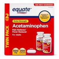 Equate Extra Strength Acetaminophen Caplets, 500 mg, 100 Ct 2 Pk