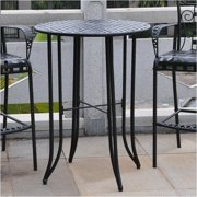 Pemberly Row Iron Antique Black Bar Height Patio Table