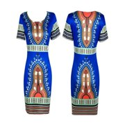 12335c9ddb8 Women Traditional African Print Dashiki Bodycon Sexy Short Sleeve Dress  Blue L