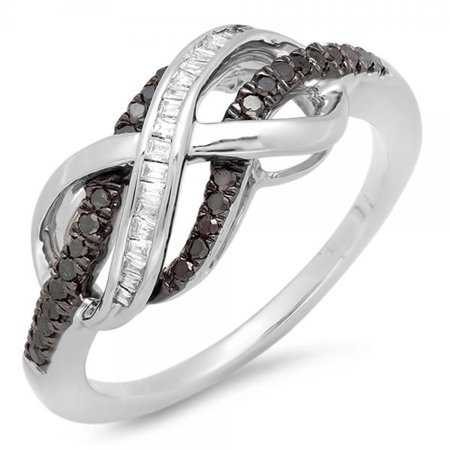 Dazzlingrock Collection 0.20 Carat (ctw) Sterling Silver Round & Baguette Cut Black & White Diamond Ladies Swirl Infinity Two Tone Wedding Ring 1/5 CT, Size 9