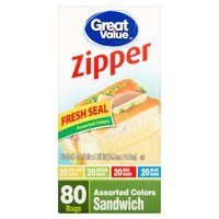 (3 Pack) Great Value Pinch & Seal Zipper Food Storage Bags, Sandwich, Mega Pack, 80 Count