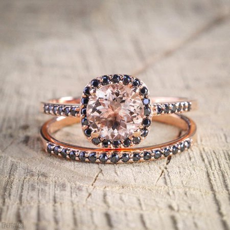 Sale: 1.50 Carat Peach Pink Morganite (Round cut) and Black Diamond Engagement Bridal Wedding Ring Set in 10k Rose - Black Diamond Gold Wedding Rings