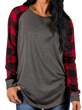 Womens O Neck Long Sleeve Plaid Patchwork Tops