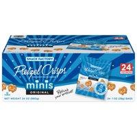 Snack Factory Pretzel Crisps Original Minis, Single-Serve 1 Oz, 24 Ct