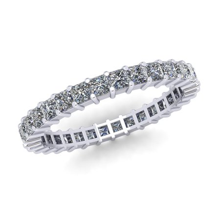 Natural 1.80Ct Princess Cut Diamond Shared Prong Women's Anniversary Wedding Eternity Band Ring Solid 10k White Gold G-H