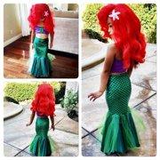 Kids Ariel Little Mermaid Set Girl Princess Dress Party Cosplay Costume