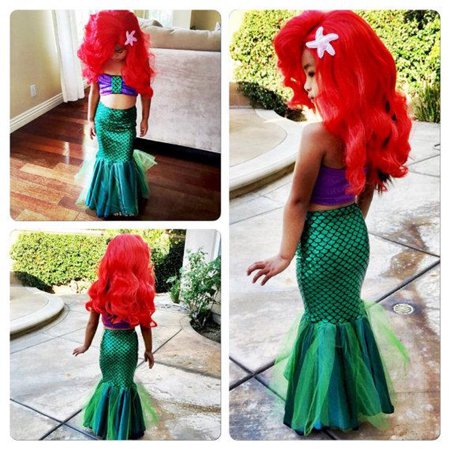 Kids Ariel Little Mermaid Set Girl Princess Dress Party Cosplay Costume (Werewolf Costumes For Girls)