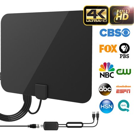 2019 Best 120 Miles Long Range TV Antenna Freeview Local Channels Indoor HDTV Digital Clear Television HDMI Antenna for 4K VHF UHF with Ampliflier Signal Booster Strongest Reception 13ft Coax Cable ()