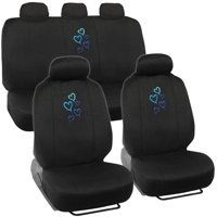 BDK Blue Love Story Design Seat Covers for Car SUV and Van, 9pc
