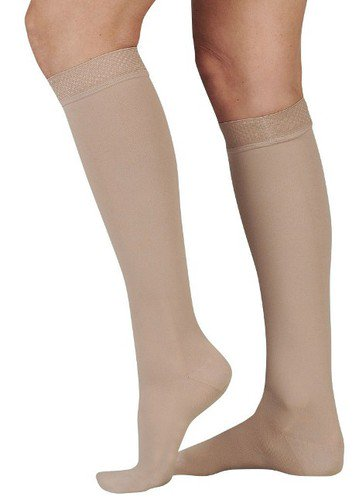 Juzo Soft Knee High (Juzo Soft 20-30 mmHg Closed Toe Knee High Compression Stockings with Silicone Border 2001AD Black Silicone Border Regular V Closed)