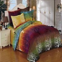 Swanson Beddings Rainbow Tree 7pc Duvet Bedding Set: Duvet Cover, Two Pairs of Pillowcases, and Two Euro Shams (King, 7)