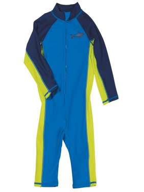 Sun Smarties Baby Boy Surf Suit - Blue and Navy Shark - Maximum Sun Protection Swimsuit