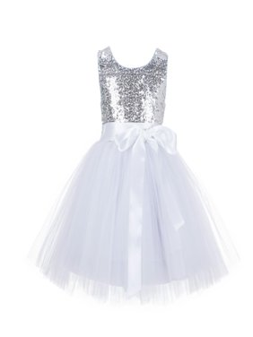 Ekidsbridal Wedding Pageant Glitter Sequin Tulle Flower Girl Dress Toddler Junior Bridesmaid Recital Easter Holiday Communion Birthday Girls Clothing Baptism Special Occasions Formal 123s
