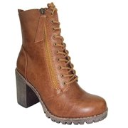 407ba117d025 Malia Tan Light Brown Soda Riding Booties Women Chunky High Heel Combat Ankle  Boots Army Military