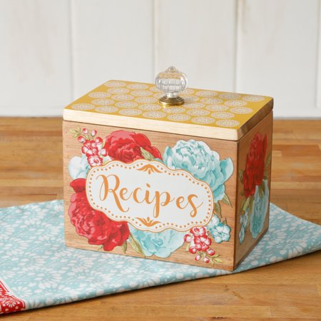 The Pioneer Woman Blossom Jubilee 6.2-Inch Recipe Box - Wood Recipe Box