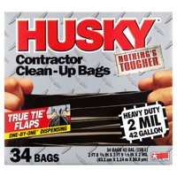 Husky Flap Tie Black ContraCountor Bag, 42 Gallon, 34 Count