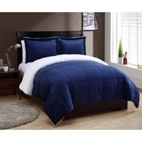 VCNY Home Solid Micro Mink Sherpa Bedding Comforter Set, Multiple Colors and Sizes Available