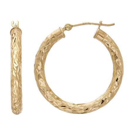 10kt Yellow Gold Polished and Diamond Cut Round Hoop -