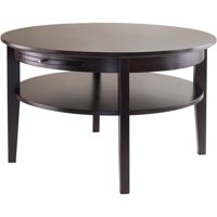 Winsome Wood Amelia Round Coffee Table with Pull-Out Tray, Espresso Finish