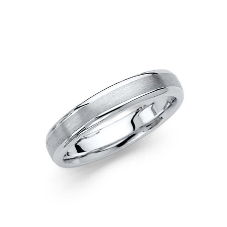 14k White Gold Dove Ring (FB Jewels 14K White Gold Solid 4mm Brushed Domed Traditional Classic Comfort Fit Wedding Ring Band Size 4 )