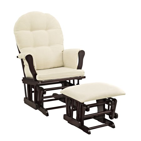 Angel Line Windsor Glider and Ottoman Espresso Finish and Beige Cushions Adult Club Glider Ottoman