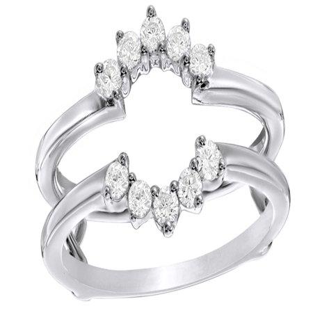 White Natural Diamond Flower Frame Solitaire Enhancer Ring in 10k White Gold (0.33