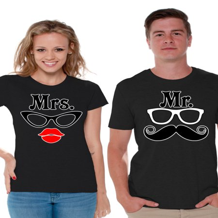 Awkward Styles Couples Shirts Matching Couple Shirts Mr. and Mrs. T-shirts for Couples Anniversary Gifts for Couples Mrs Glasses and Mr Mustache Funny Couple Shirts Valentine Gifts for Couples - Funny Couples