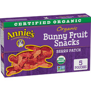 (2 Pack) Annie's Organic Bunny Fruit Snacks, Berry Patch, 5 Pouches, 4.0 oz