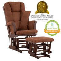 Storkcraft Tuscany Glider and Ottoman with Lumbar Pillow Espresso with Chocolate Cushions