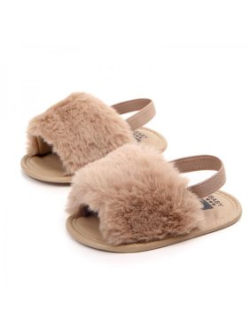 Lavaport Baby Infant Girls Faux Fur Sandals Soft Sole Shoes Plush Slide