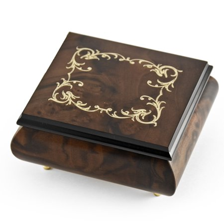 Classic Walnut Stain Arabesque Wood Inlay Music Box - Aloha Oe, H.M.O - (Arabesque Wood)